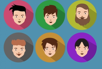 male portrait icons various colored hairstyle design