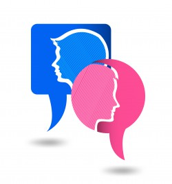 man and woman chat bubble