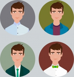 man avatar icons colored circle isolation