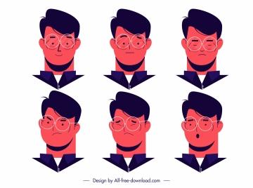 man icons avatars emotions sketch cartoon design