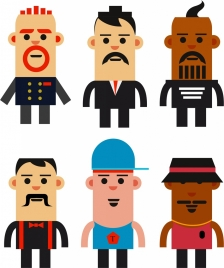 man icons collection colored flat design