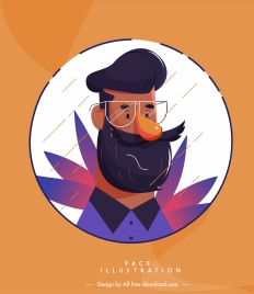 man portrait icon colored cartoon character sketch