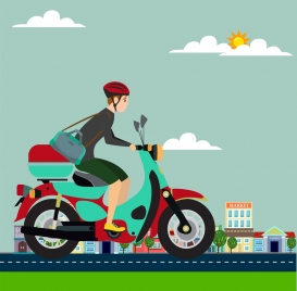 man riding motorbike background colorful cartoon design