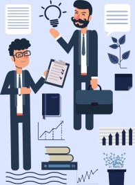 manager work background colleagues business icons cartoon characters