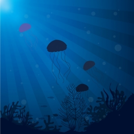 marine background jelly fishes decoration dark blue design
