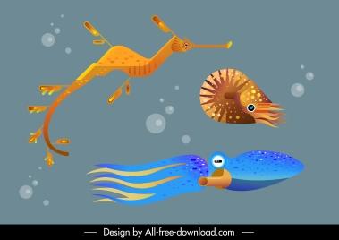 marine background sea species sketch colored modern design