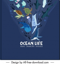 marine banner template sea creatures sketch dynamic design