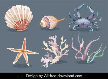 marine design elements classical sea animals plant sketch