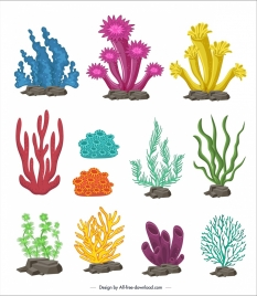 marine design elements colorful coral icons