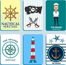marine design elements steering wheel sailor anchor lighthouse