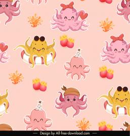 marine elements pattern cute stylized octopus sketch