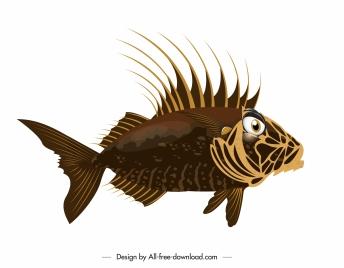 marine fish icon modern colored design