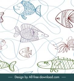 marine fishes pattern flat handdrawn sketch
