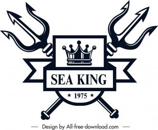 marine logo template royal emblem symmetrical sketch
