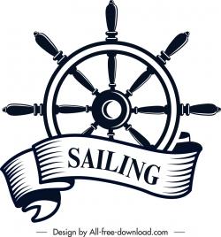 marine logotype black white steering wheel ribbon icons