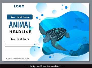marine protection banner turtle sketch colored bright design