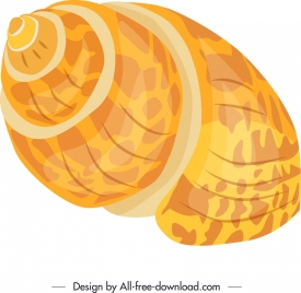 marine shell icon shiny bright yellow 3d design