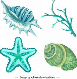 marine species icons blue shell coral starfish sketch