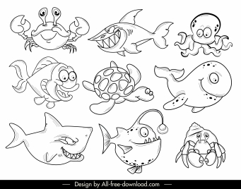 marine species icons cartoon characters black white handdrawn
