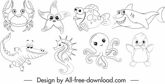 marine species icons cartoon sketch black white handdrawn