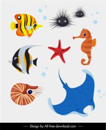 marine species icons colorful animals sketch