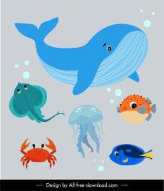 marine species icons colorful flat cartoon sketch