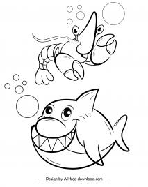 marine species icons funny cartoon character handdrawn sketch