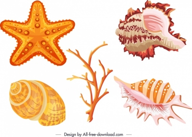 marine species icons shell starfish coral sketch