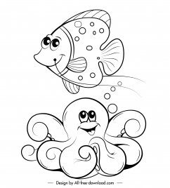 marine species icons stylized cartoon character handdrawn sketch