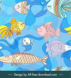 marine species pattern cute cartoon fishes colorful handdrawn