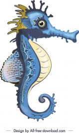 marine symbol background seahorse icon colorful design
