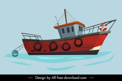 maritime painting classic fishing boat sketch