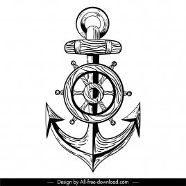 maritime tattoo template black white anchor steering wheel