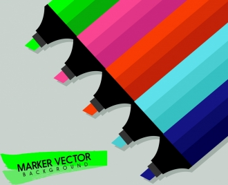 marker pen background colorful flat icons