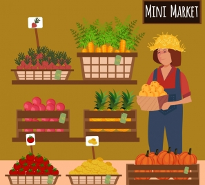 market advertising fruit vegetable display woman icon