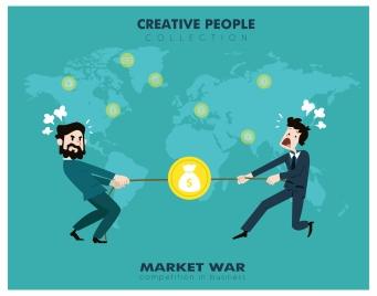market war concept design with fighting businessmen