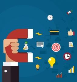 marketing concept background magnet business elements decor