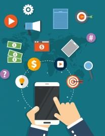 marketing concept background smartphone business elements decor
