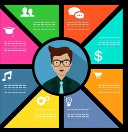 marketing concept infographic colored flat design businessman icon
