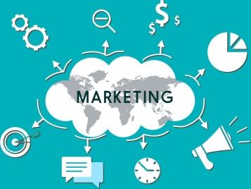 marketing concept infographic template cloud flat symbols ornament
