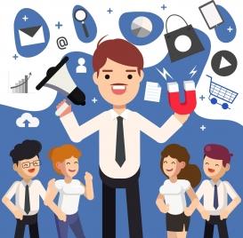 marketing conceptual background people business design elements
