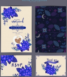 marriage card template purple flowers icons nature decor