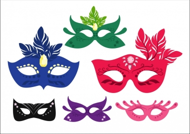 mask icons colorful classical style