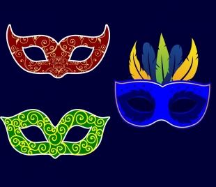 masquerade mask icons isolation classical dark design