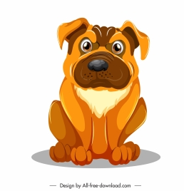 mastiff dog icon funny emotion sketch cartoon design