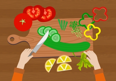 meal preparation background vegetables cutting knife icons