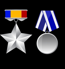 medal icon templates shiny grey various shapes