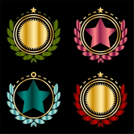 medal icons sets various colorful shiny shapes isolation