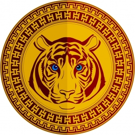 medal template tiger icon classical decoration