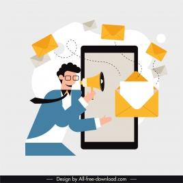 media communication banner man dynamic envelopes smartphone sketch